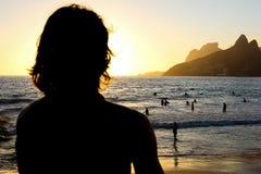 Tramonto a Arpoador - Rio de Janeiro Beach Immagine Stock