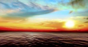 Tramonto astratto del cielo e del mare Immagine Stock