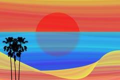 Tramonto astratto di arte con la palma di betel isolata Immagini Stock Libere da Diritti