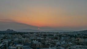 Tramonto a Atene Fotografie Stock Libere da Diritti