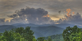 Tramonto attraverso le nuvole, Great Smoky Mountains Immagine Stock Libera da Diritti