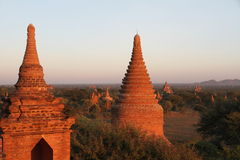 Tramonto in Bagan, Myanmar Immagini Stock