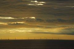 Tramonto baltico del mulino a vento Fotografia Stock Libera da Diritti