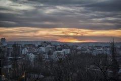 Tramonto a Belgrado fotografie stock