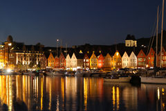 Tramonto a Bergen, Norvegia fotografia stock libera da diritti