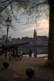 Tramonto a Blokzijl, nl Fotografia Stock Libera da Diritti