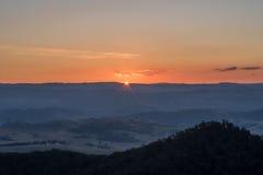 Tramonto blu delle montagne, Nuovo Galles del Sud, Australia Fotografie Stock Libere da Diritti