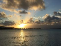 Tramonto a Bora Bora Fotografia Stock
