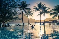 Tramonto in Bora Bora Fotografia Stock Libera da Diritti