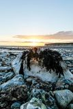 Tramonto BRITANNICO della spiaggia Fotografia Stock Libera da Diritti