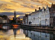 Tramonto a Bruges, Belgio Fotografia Stock Libera da Diritti