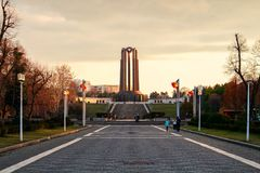 Tramonto a Bucarest immagine stock libera da diritti