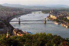 Tramonto a Budapest fotografie stock