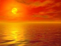Tramonto caldo del mare Fotografie Stock