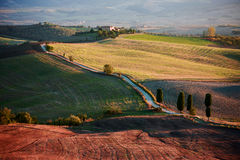 Tramonto in campagna toscana, paesaggio italiano Fotografia Stock