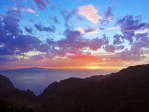 Tramonto in canyon Masca all'isola di Tenerife - canarino Fotografia Stock