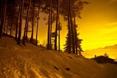 Tramonto che cammina nelle alpi Fotografia Stock Libera da Diritti