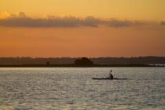 Tramonto che kayaking Fotografie Stock
