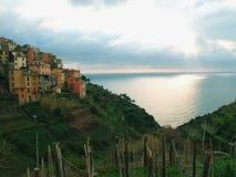 Tramonto a Cinque Terre in Italia di nord-ovest Immagini Stock Libere da Diritti