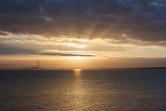 Tramonto con i raggi del sole Fotografia Stock