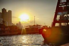 Tramonto con il mare e la nave Immagine Stock Libera da Diritti