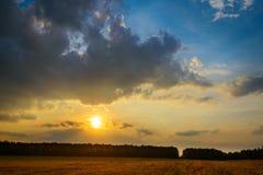 Tramonto con le nubi Immagine Stock