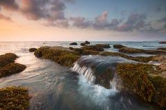 Tramonto con le rocce muscose ad una spiaggia Fotografia Stock