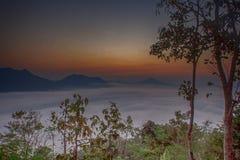 Tramonto con nebbia di estate fotografia stock