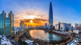 Tramonto crepuscolare al fiume Han Seoul Corea immagini stock libere da diritti