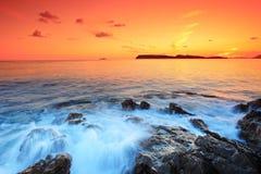 Tramonto da Dubrovnik, Croatia fotografia stock libera da diritti