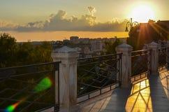Tramonto da Sciacca di tramonto in Sicilia Sicilia fotografia stock