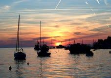 Tramonto dal mare adriatico fotografia stock