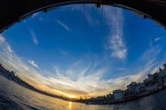 Tramonto dal ponte di Galata Costantinopoli, Turchia Fotografie Stock