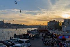 Tramonto dal ponte di Galata Costantinopoli, Turchia Fotografia Stock Libera da Diritti
