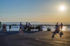 Tramonto dal punto di vista di Ortigia, Siracusa in Sicilia fotografia stock libera da diritti