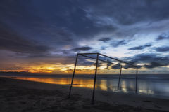 Tramonto a Dalit Beach Immagine Stock Libera da Diritti