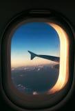 Tramonto dall'aereo Fotografia Stock Libera da Diritti