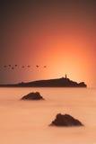 Tramonto dall'oceano Fotografie Stock