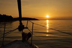 Tramonto dall'yacht Fotografia Stock Libera da Diritti