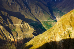 Tramonto del canyon di Colca Fotografia Stock