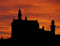 Tramonto del castello di Neuschwanstein Fotografia Stock Libera da Diritti