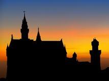 Tramonto del castello di Neuschwanstein Fotografie Stock