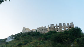Tramonto del castello di Rabsztyn in Polonia Fotografia Stock