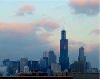 Tramonto del Chicago Immagine Stock Libera da Diritti
