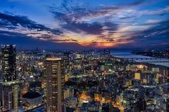 Tramonto del cielo di Umeda fotografie stock