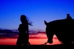Tramonto del Cowgirl Immagini Stock Libere da Diritti