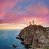 Tramonto del faro di Almeria Cabo de Gata in Spagna Immagine Stock Libera da Diritti