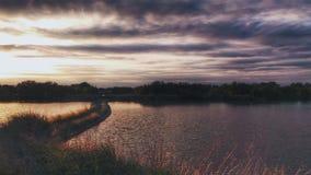 Tramonto del fiume Fotografie Stock Libere da Diritti