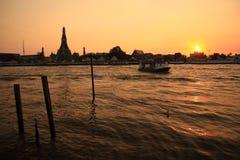 Tramonto del fiume di Mekong a Bangkok Fotografia Stock