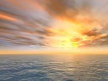 Tramonto del fuoco sopra il mare Immagine Stock